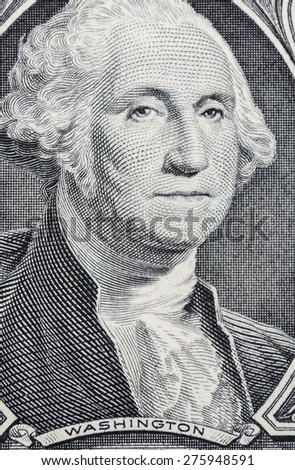 CHICAGO, ILLINOIS - APRIL 29, 2015. Macro shot of U.S. President George Washington on the One dollar  Currency banknote