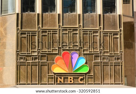 CHICAGO, ILLINOIS - AUGUST 22, 2015: NBC Tower. The NBC logo on the NBC Tower building seen form Columbus Drive. - stock photo