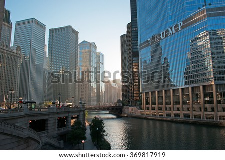 Chicago, Illinois: canal cruise on Chicago River, skyline and Trump tower on September 22, 2014. Trump Tower, known as the famous landmark and named after Donald Trump, is 1389 feet high