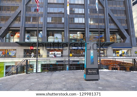 CHICAGO, ILLINOIS - FEB 24: The John Hancock Center Including 2 antennas, has a height of 457.2 m, making it the fifth-tallest building in the world, on February 24, 2013 in Chicago, Illinois, USA. - stock photo