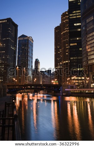 Chicago, Illinois from the river. - stock photo