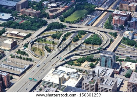 Chicago, Illinois in the United States. Aerial view of a complicated interstate freeway interchange. Road transportation infrastructure. - stock photo