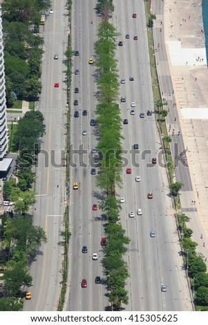 Chicago, Illinois in the United States. Aerial view of city street traffic. - stock photo