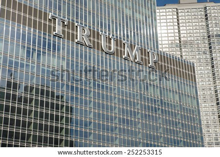 CHICAGO, ILLINOIS - January 24, 2015: The Trump International Hotel and Tower, a skyscraper condo-hotel in downtown Chicago, Illinois  named after billionaire real estate developer Donald Trump  - stock photo