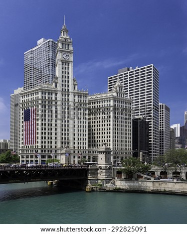 CHICAGO, ILLINOIS - JULY 1: Wrigley Building on Michigan Avenue on July 1, 2015 in Chicago, Illinois - stock photo