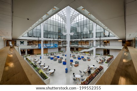 CHICAGO, ILLINOIS - JUNE 18: Interior of the Booth School of Business on the campus of the University of Chicago on June 18, 2014 in Chicago, Illinois - stock photo