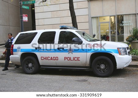 CHICAGO, ILLINOIS - OCTOBER 24, 2015: Chicago Police Department car in downtown Chicago - stock photo