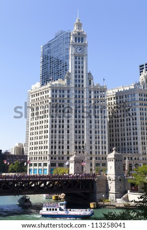 CHICAGO, ILLINOIS - SEP 15: The Wrigley Building in Chicago, a skyscraper was built to house the corporate headquarters of the Wrigley Company, on September 15, 2012 in Chicago, Illinois, USA.