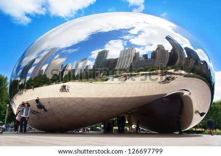 CHICAGO, ILLINOIS - SEPTEMBER 6: Cloud Gate (The Bean) on September 6, 2012 in Chicago, Illinois. Cloud Gate, a sculpture by artist Anish Kapoor, is the centerpiece of the AT&T Plaza.