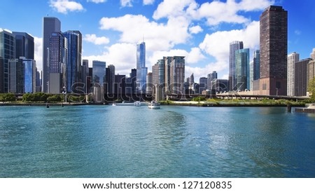 CHICAGO, ILLINOIS - SEPTEMBER 15: View of Chicago from Lake Michigan on September 15, 2012 in Chicago, Illinois. Chicago is the largest city in the U.S. state of Illinois. - stock photo