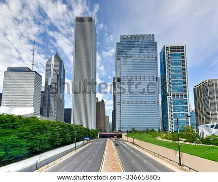 Chicago, Illinois - September 5, 2015: 330 View unto skyscrapers of downtown Chicago, Illinois.