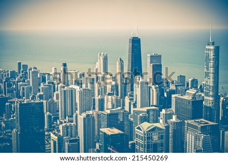 Chicago Illinois Skyline Aerial View. Chicago and Lake Michigan. United States. Vintage Blue Color Grading. - stock photo