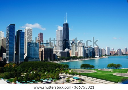Chicago, Illinois: skyline from Navy Pier and the John Hancock Center on September 22, 2014.  Navy Pier was built in 1916, known as the famous landmark. The John Hancock Center is 1127 feet high - stock photo