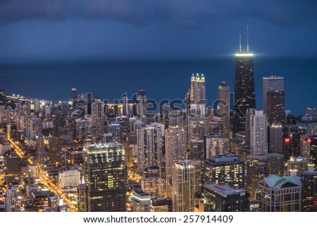 Chicago, Illinois, USA - July 27, 2014:  view of Chicago skyline from Willis Tower - stock photo