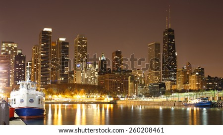 CHICAGO, ILLINOIS, USA - MAY 16, 2014: Skyline of Chicago at night from the Navy Pier - stock photo