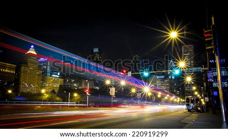 CHICAGO, ILLINOIS/ USA - 27th SUNDAY SEPTEMBER 2014 : Light Trails on Michigan Avenue, Chicago Downtown Busy Business District, Night Scene