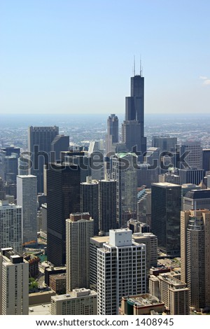 Chicago, Illinois - view from John Hancock Building - stock photo