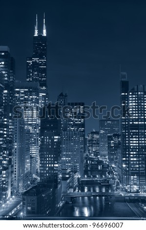 Chicago. Image of Chicago downtown and river at night.