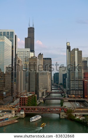 Chicago. Image of Chicago downtown and river at summer evening. - stock photo