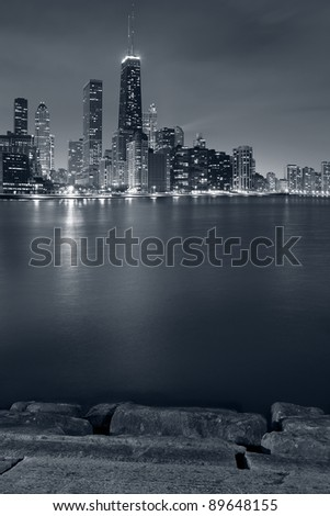 Chicago. Image of Chicago skyline and Lake Michigan coastline at night. - stock photo