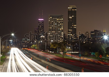 Chicago. Image of Lake Shore Drive Highway leading to the city of Chicago at night.