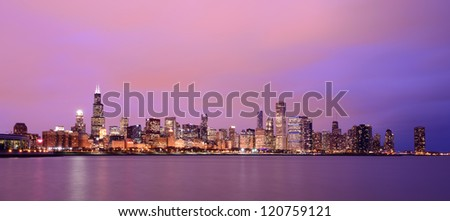 Chicago in the beautiful glow of sunset - stock photo