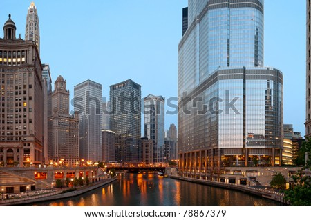Chicago in the morning. - stock photo