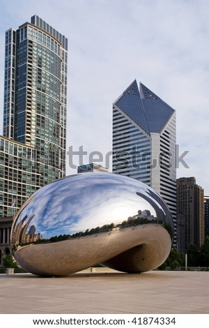 CHICAGO - JULY 16 : Millennium Plaza in Downtown, Chicago July 16, 2006. On sunrise, clear reflections of the sky and high-rise skyline in the newly polished metallic surface of the Bean - stock photo