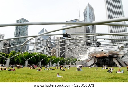 CHICAGO - JUNE 25: Chicago Jay Pritzker Pavilion at Millennium Park on June 25, 2011 in Chicago, Illinois USA. The Pavilion hosts many concerts, and events, and it has capacity for 11,000 people. - stock photo