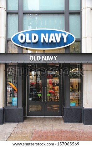 CHICAGO - JUNE 26: Old Navy store at Magnificent Mile on June 26, 2013 in Chicago. The Magnificent Mile is one of most prestigious shopping districts in the United States.