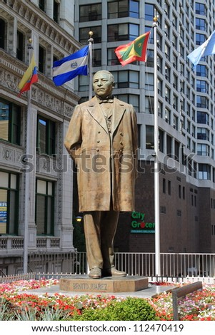 CHICAGO - JUNE 18: Statue of Benito Juarez near Michigan Avenue on June 18, 2012 in Chicago, Illinois. Juarez was a lawyer and politician who served five terms as president of Mexico. - stock photo