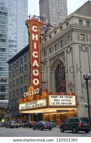 CHICAGO - JUNE 14: The famous Chicago Theater is a historic landmark located on North State Street in the Loop. It first opened to the public in 1921. Pictured on June 14, 2010 in Chicago, Illinois. - stock photo