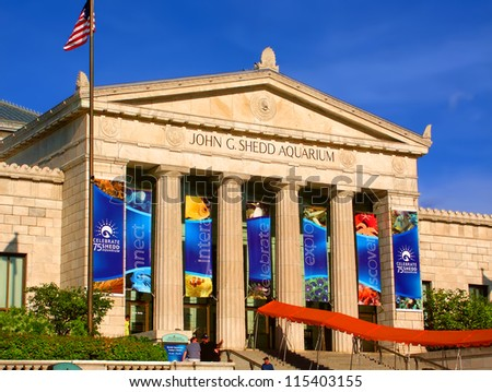 CHICAGO - JUNE 07: The Shedd Aquarium on June 07, 2005 in Chicago. Seen here is the main entrance to the aquarium which opened in the year 1930. - stock photo