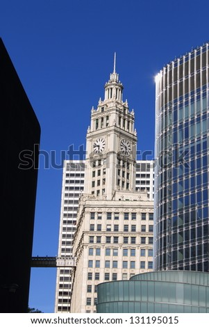 CHICAGO - JUNE 17: Vintage Wrigley Building on Michigan Avenue on June 17, 2012 in Chicago, Illinois. Built in the 1920's, it was the city's first air-conditioned office building. - stock photo
