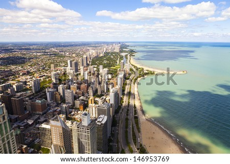 Chicago Lake Shore Drive Aerial View  - stock photo