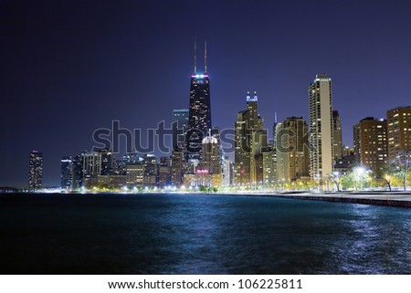 Chicago Lake Shore Drive at Night - stock photo