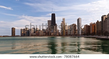 Chicago lakefront in the late afternoon light. - stock photo
