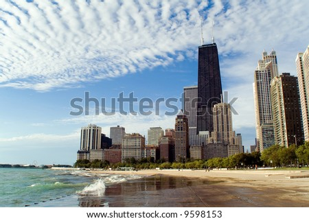 Chicago lakefront skyline with dramatic clouds - stock photo