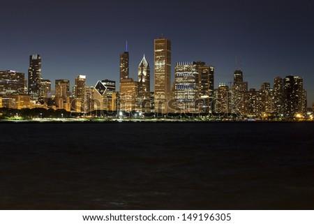 Chicago lakeshore skyline by night - stock photo