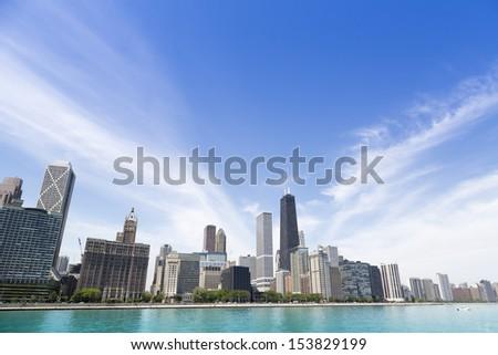 Chicago lakeshore skyline with Hancock - stock photo