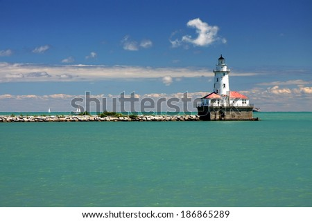 Chicago lighthouse - stock photo