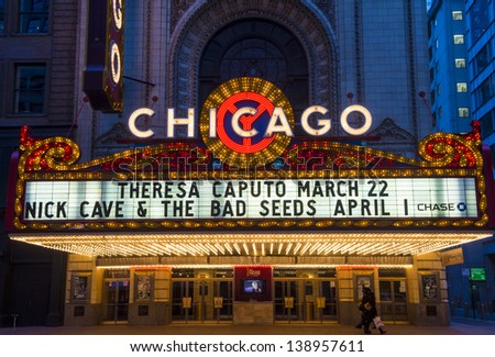 CHICAGO - MARCH 17 : The famous Chicago Theater on State Street on March 17, 2013 in Chicago, Illinois, The iconic marquee often appears in film and television - stock photo