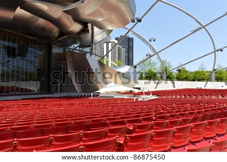 CHICAGO - MAY 15: Jay Pritzker Pavilion an outdoor amphitheater on May 15, 2009 in Millennium Park, Chicago, Illinois. Designed by Frank O. Gehry, is the home of the Grant Park Symphony Orchestra - stock photo