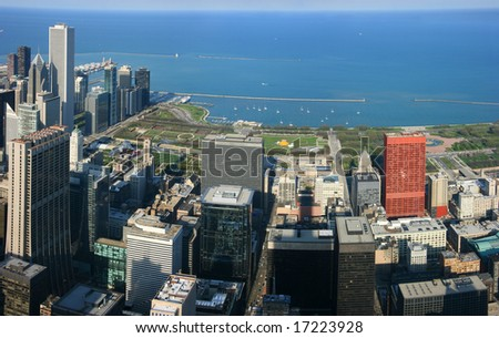 Chicago Millennium Park aerial panoramic view from Sears tower - stock photo
