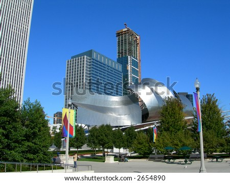 Chicago Millennium Park Theater, surrounded by downtown buildings - stock photo