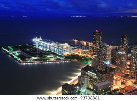 Chicago Navy Pier aerial view with Lake Michigan at dusk. - stock photo