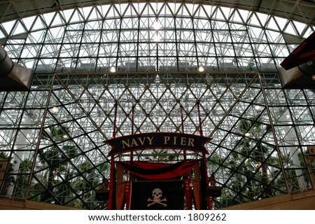 Chicago - Navy Pier Ceiling - Along the shore, downtown Chicago - stock photo