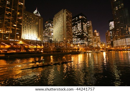 Chicago night river - stock photo