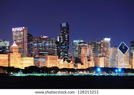 Chicago night view - stock photo