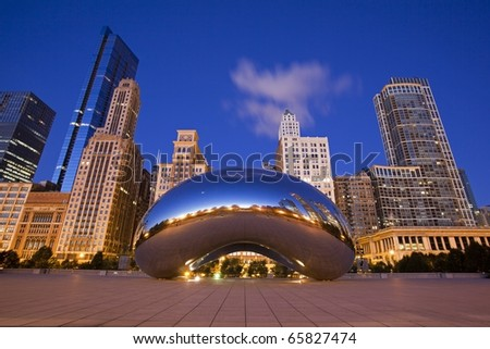 CHICAGO - NOVEMBER 1. Millennium Park, Chicago on November 1st 2010. Cloud Gate, also known as the Bean is one of the parks major attractions from 6am - 11pm daily. Admission is free. - stock photo
